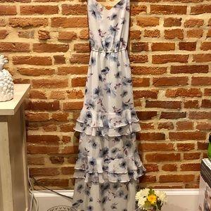 """Dusty Blue"" Floral Print Ruffle Maxi Dress"